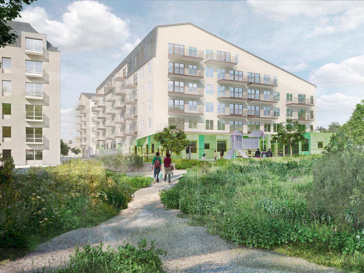 Sandaletten_Kabelverket_Bostäder_Älvsjö_Stockholm_Kvartersvy_Park_Varg_Arkitekter_Ver2