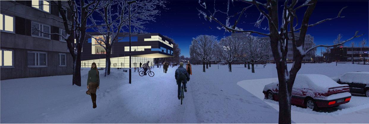 turebergsskolan_sollentuna_stockholm_illustration_kväll_varg_arkitekter